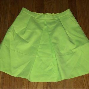 J. Crew pleated neon yellow skirt